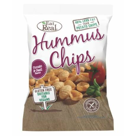 EAT REAL HUMMUS Chips paradicsom&bazsalikom 45g